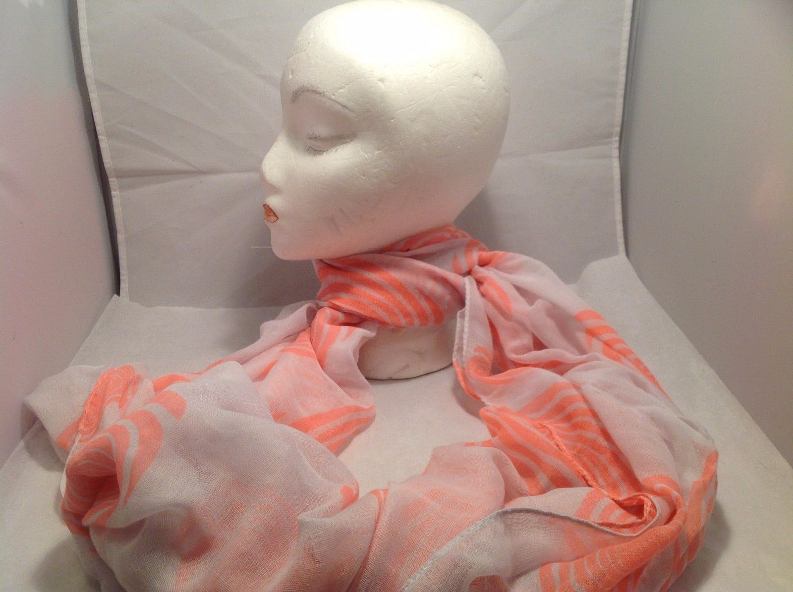New Mad About Style Scarf White Pink Peach Swirl Pattern