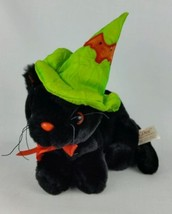 Dan Dee Halloween Black Cat Plush Green Witch Hat Collectors Choice - $15.83