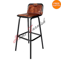 Bar Counter Stool Leather Seat Restaurant Bar Stools Vintage Style Indus... - $167.31