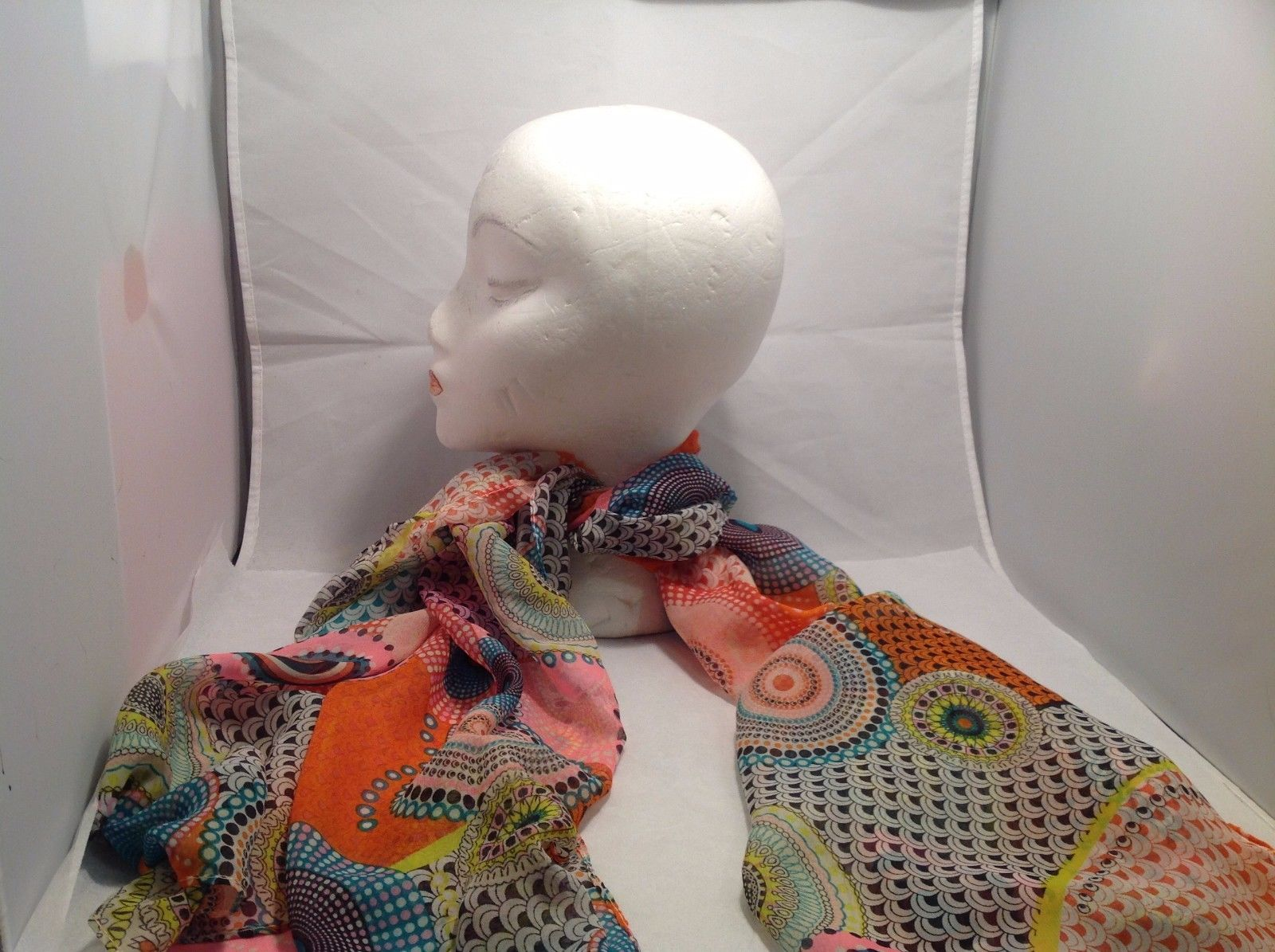 New Mad About Style Scarf Pink Blue Orange White Black Yellow Circles