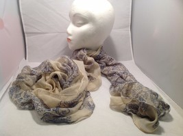 New Mad About Style Scarf Tan Blue Sheer Paisley