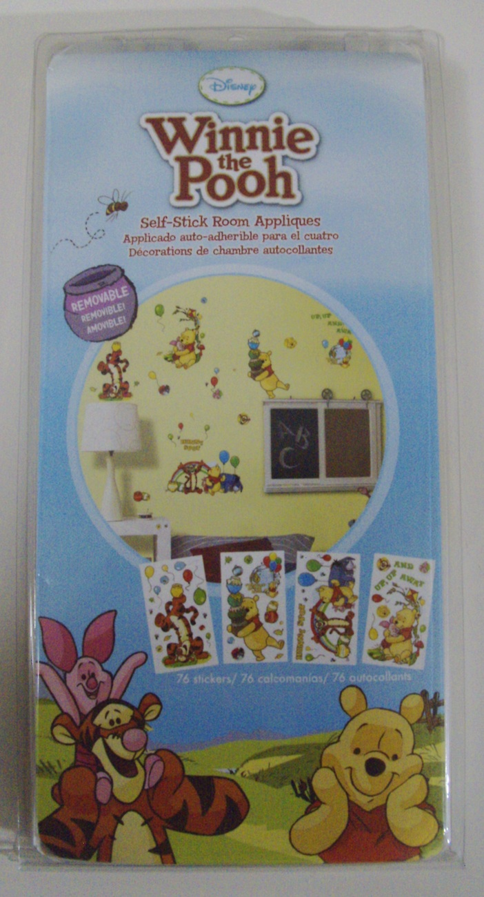 Disney Winnie the Pooh Self-Stick Room Appliques 76 Removable Stickers - New