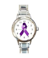 Ladies Round Italian Charm Bracelet Watch Purple Awareness Ribbon model ... - $11.99