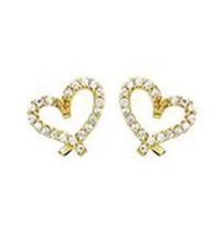 14K GOLD EARRINGS PLATED HEART  Screw Back ON SALE ! - $13.72
