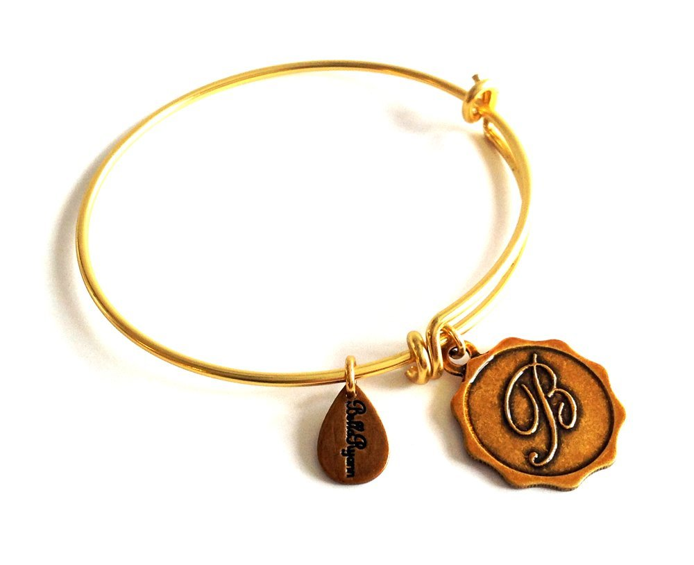 "Bella Ryann Letter ""B"" Gold Charm Bangle Bracelet"