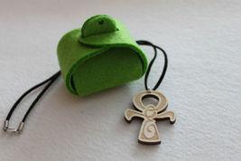 "Wood Christian Cross Ankh Pendant  20"" Leather Necklace IRISH CELTIC ORN... - $9.01"