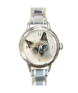 Ladies Round Italian Charm Bracelet Watch Siamese Cat Pet Gift model 26093886 - £9.69 GBP