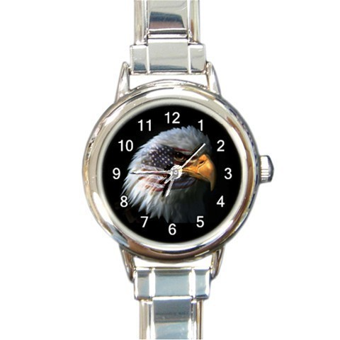 Ladies Round Italian Charm Bracelet Watch US Eagle  Gift model 18766575