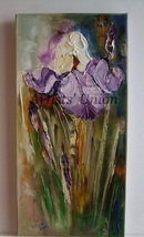 Purple Irises Original Oil Painting Impressioni... - $79.00