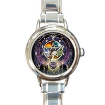 Ladies Round Italian Charm Bracelet Watch Wicca Pentagram Pentacle Gift ... - $11.99