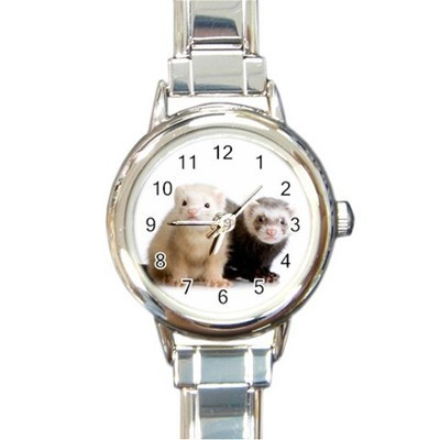 Ladies Round Italian Charm Watch Cute Ferrets Pets Animals Gift model 30126936
