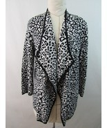 Dana Buchman Open Front Animal Print Cardigan Black White Size M - £21.21 GBP