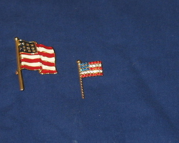 Two American Flag Pins Rhinestones & Enameled