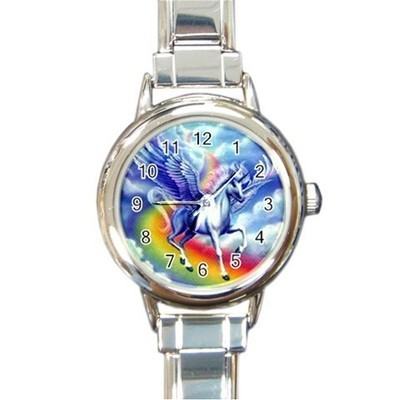 Ladies Round Italian Charm Watch Flying Unicorn Rainbow Gift model 30332401