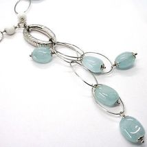 SILVER 925 NECKLACE, SPHERES AGATE WHITE, AQUAMARINE DROP, PENDANT, OVALS image 3