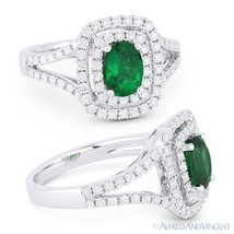 1.49 ct Oval Cut Emerald & Diamond Pave Halo Engagement Ring in 18k Whit... - €3.734,50 EUR