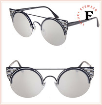 BVLGARI SERPENTEYES BV6088 Black Silver Mirrored Metal Flat Sunglasses 6088 - $277.20