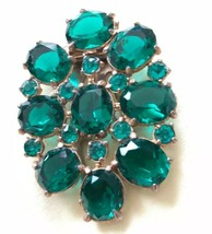 Vintage Art Deco Emerald Green Rhinestone Dress Fur Collar Clip Rose Cut... - $235.15