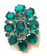Vintage Art Deco Emerald Green Rhinestone Dress Fur Collar Clip Rose Cut... - $235.15