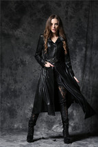 Black Asymmetrical Vegan Leather Skull Buckle Coat Long Goth Jacket Spri... - $88.09
