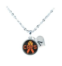 Custom CRPS RSD Awareness Orange Ribbon Silver Necklace Jewelry Choose Initials - $14.99