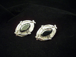 Whiting Davis OVAL HEMATITE Ornate Silver Plated Clip on Earrings Estate... - $14.84