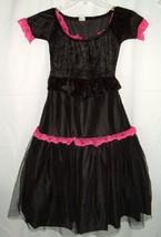Franco Sz S Victorian Gothic Black Velvet Pink Dress Up Halloween Child Costume - $13.83