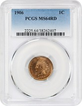 1906 1c PCGS MS64 RD - Indian Cent - $252.20