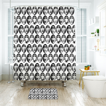 Many Face Shower Curtain Waterproof Polyester Fabric & Bath Mat For Bath... - $16.30+