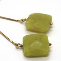 Drop Earrings Yellow Gold 18k, Chain Venetian, Jasper Green Square image 2