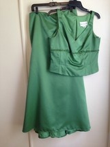 David's Bridal Green Two Piece Formal Sleeveless Dress with Decorated Bo... - $36.63