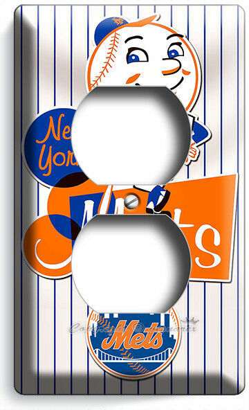 RETRO MR MET NEW YORK METS BASEBALL TEAM OUTLET WALL PLATE COVER ROOM HOME DECOR