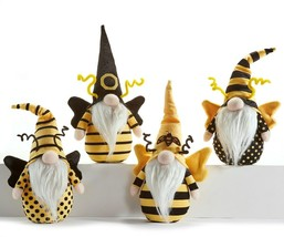 Set of 4 Gnomes Bee Designed Table Shelf Decor Black Yellow
