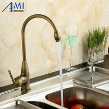 Amibronze Kitchen Faucet Antique Single Hole Counter Basin Faucet Hot and Cold F - $89.95
