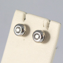 SOLID 18K WHITE GOLD EARRINGS, WITH DIAMONDS CT 0.13, MADE IN ITALY. image 2