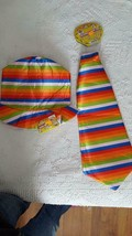 """NEW STRIPED HALLOWEEN CLOWN PROPS, HAT AND BIG 22"""" TIE, SATIN, PADDED, S... - €4,37 EUR"""