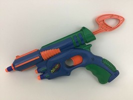 "Blue Single Fire Nerf Dart Gun Blaster 12"" Hasbro with Darts 2003 - $18.66"