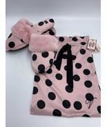NWT Victoria's Secret L 9 10 Pink Black Polka Dot Faux Fur Slippers Sati... - $19.99