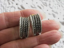 Vintage Clip Earrings Heavy Silver Plated Rope Look Edged In Tiny Sparkle Sets image 3