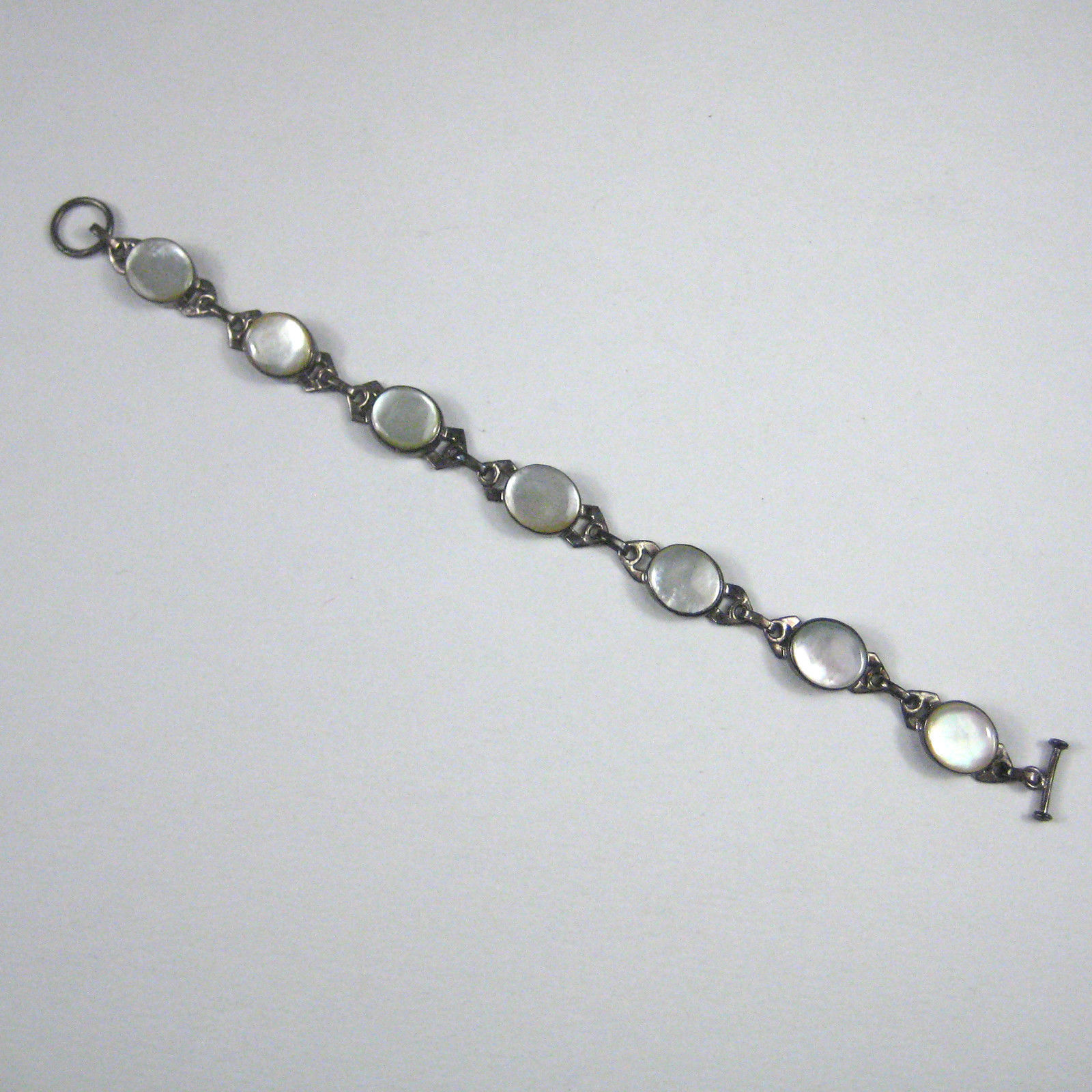 Art Deco Bracelet Silver Mother of Pearl Unsigned Toggle Clasp 14 g