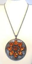 Large Vintage 1970's Gothic Boho Gold Rhinestone Pendant Necklace Signed Act II - $19.79