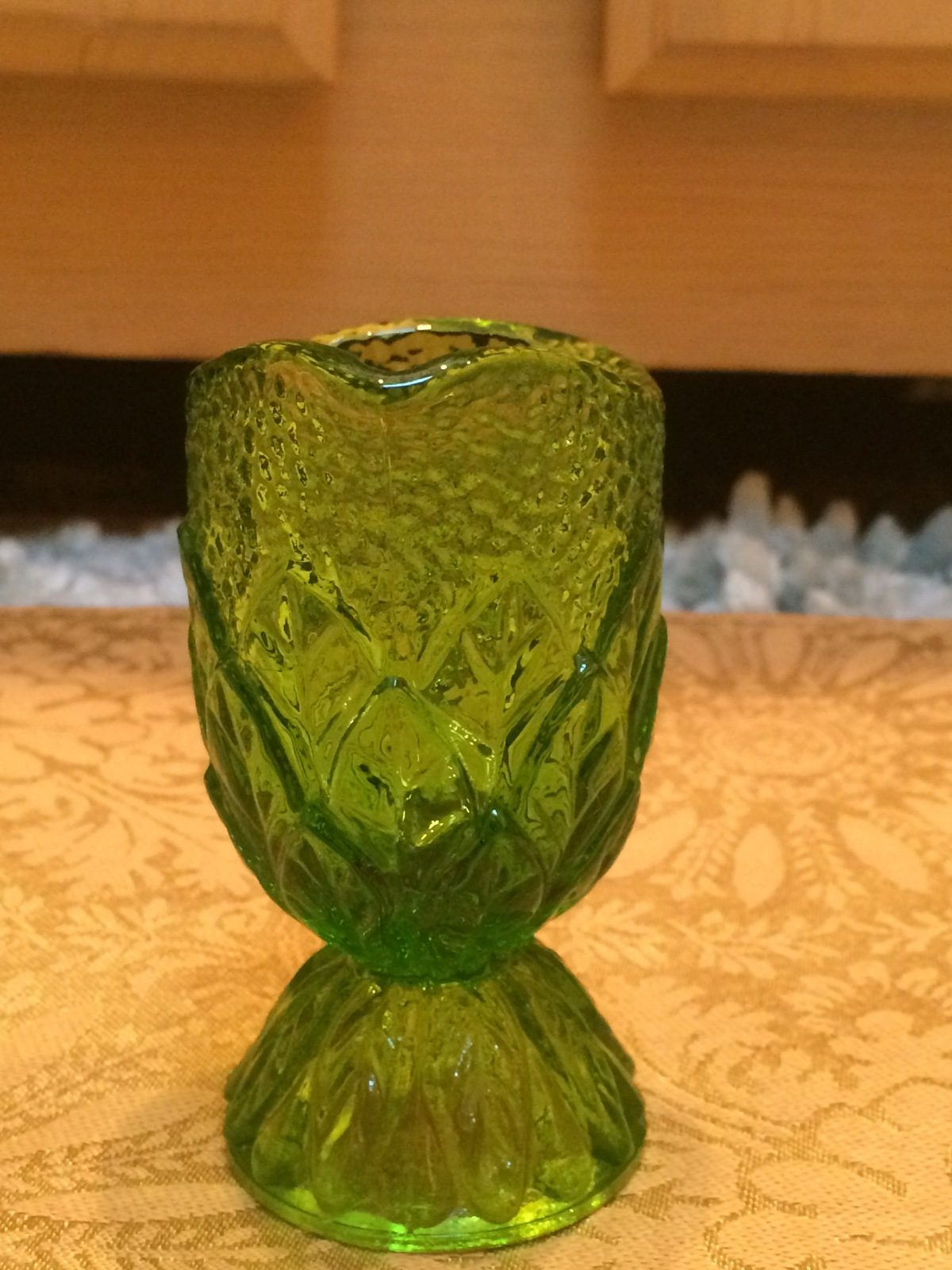 Vintage Kanawha Green Glass Stacked Leaves Mini Creamer - EUC