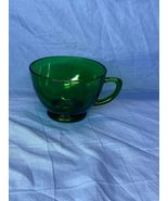 Vintage Anchor Hocking Forest Green Punch Serva Snack Tea Cup Glass Handle - $12.99