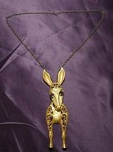 Vintage Large Donkey Burro W/ Gem Eyes Articulated Detail Gold Tone Neck... - $44.55