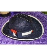 Authentic Vintage KURT JR. by Tom Hamm Ladies Straw hat, Navy with bow a... - $19.59