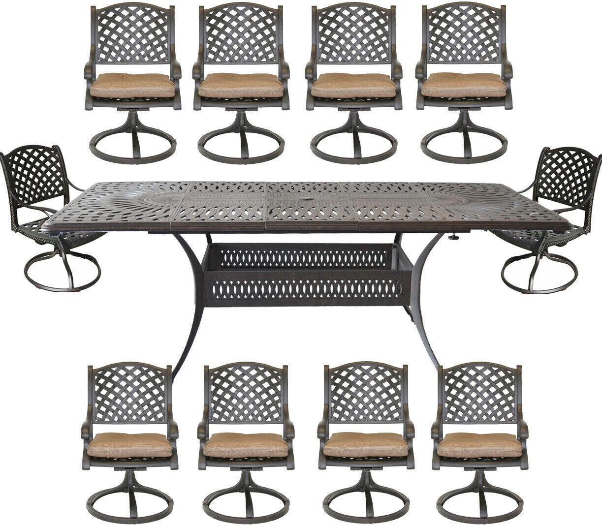 Nassau 11 piece cast aluminum dining set Santa Clara rectangular extendable tabl