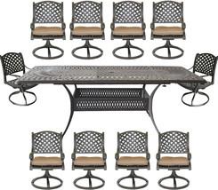 Nassau 11 piece cast aluminum dining set Santa Clara rectangular extendable tabl image 1