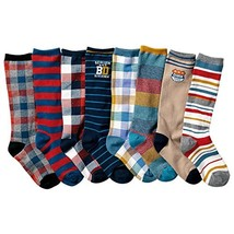 Boys' Colorful Stripe Stocking Youth Pattern Knee High Cotton Socks 8 Pairs - $26.86