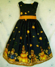 NEW Handmade Daisy Kingdom Halloween Pumpkin Border Dress Custom Sz 12M-14Yrs - $59.98