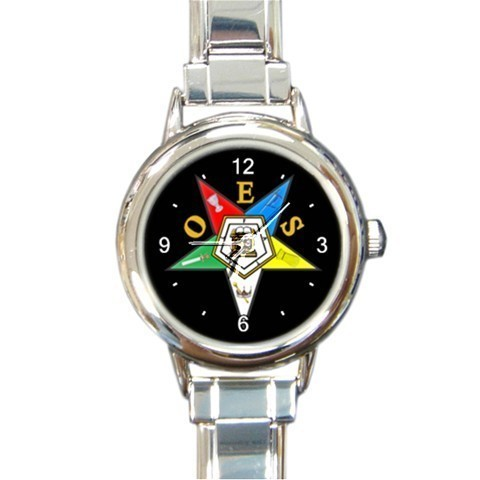 Ladies Round Italian Charm Watch OES Order Of The Eastern Star Black 29283917